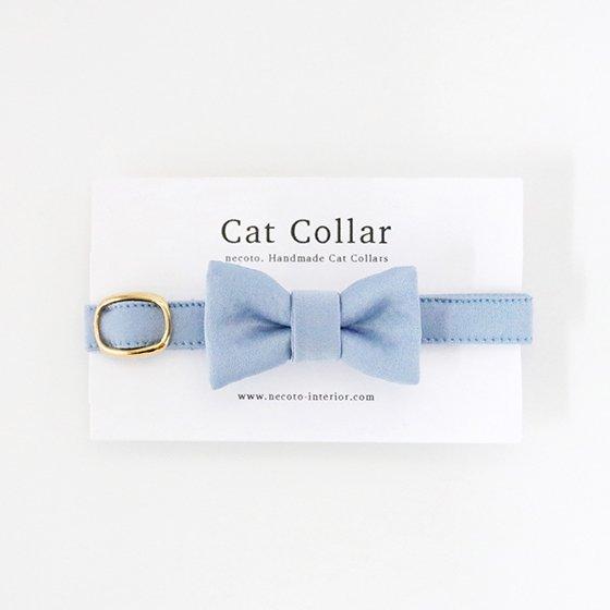 猫の首輪/やわらかサテン【リボン付き/フレンチブルー】