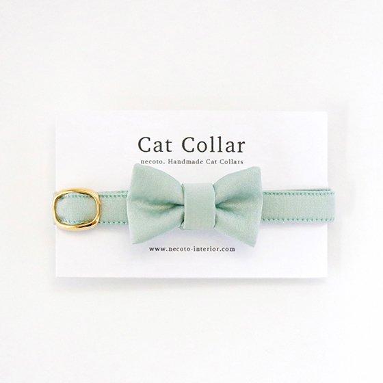 猫の首輪/やわらかサテン【リボン付き/ミントグリーン】