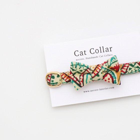 猫の首輪/やわらかインドのコットン【モダン柄】