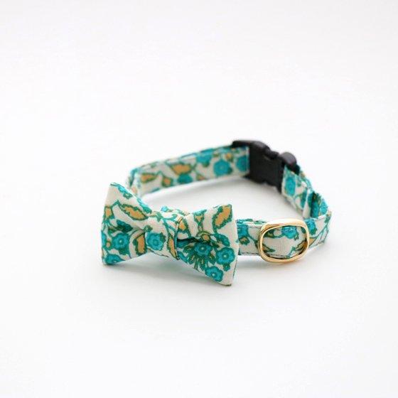 猫の首輪/やわらかインドのコットン【フローラル/ブルー】