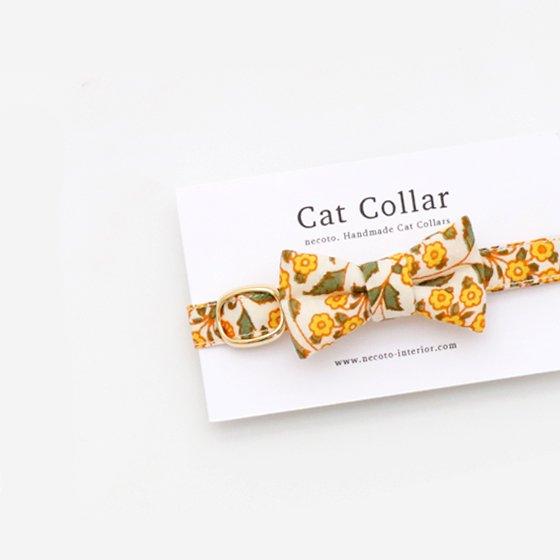猫の首輪/やわらかインドのコットン【フローラル/イエロー】