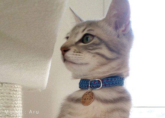 猫の首輪/ヘンプ編み【アボカド】