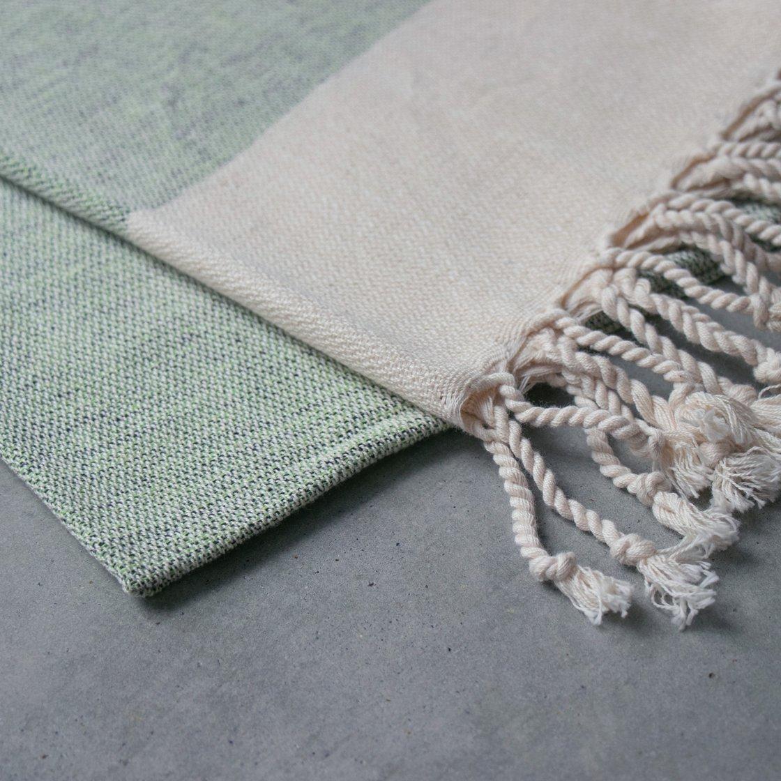 トルコ 手織りのコットンケット【グリーン】