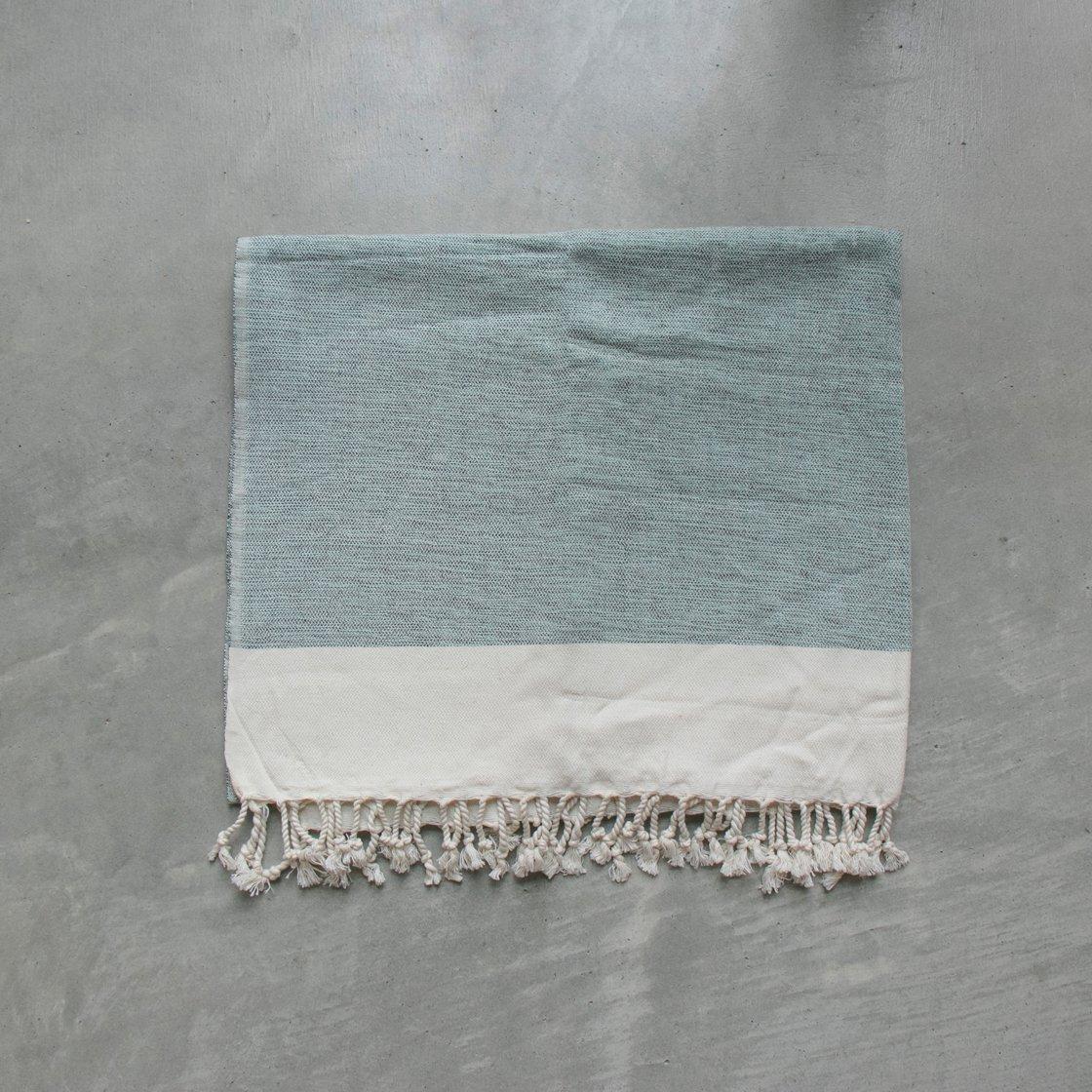 トルコ 手織りのコットンケット【ブルー】