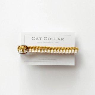 猫の首輪/ヘンプ編み【コガネバナ×ナチュラル】