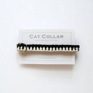 猫の首輪/ヘンプ編み【黒×ナチュラル】