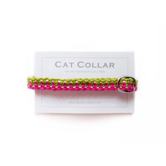 猫の首輪/ヘンプ編み【マゼンタ×ライム】