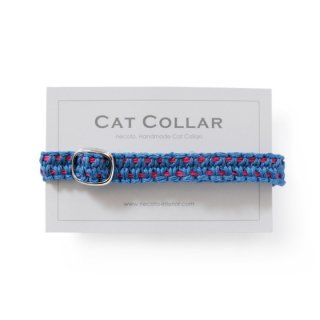 猫の首輪/ヘンプ編み【藍中×マゼンタステッチ】