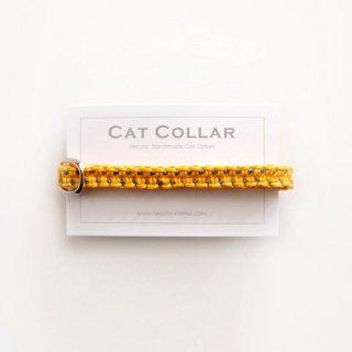猫の首輪/ヘンプ編み【きいろ×藍中ステッチ】