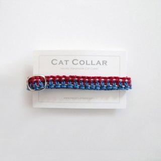 猫の首輪/ヘンプ編み【レッド×藍中(トリコロール)】