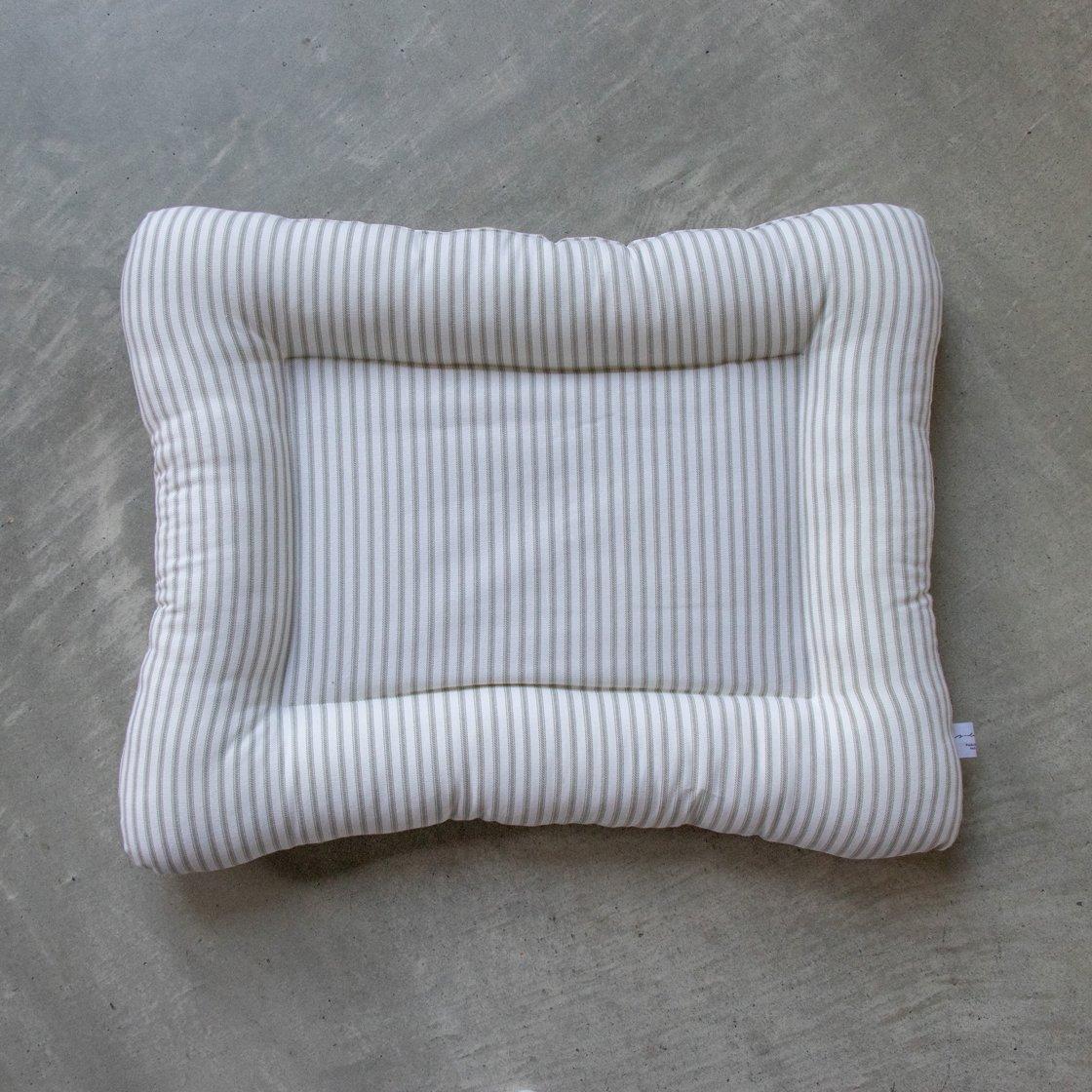 【受注製作】猫用ベッド/USコットン ティッキングストライプグレー