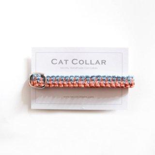 猫の首輪/ヘンプ編み【エンジュ×藍淡】