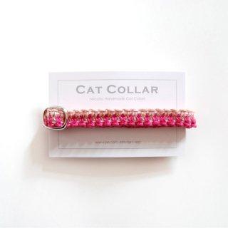 猫の首輪/ヘンプ編み【マゼンタ×茜染め】