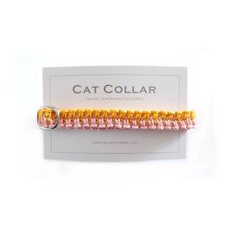 猫の首輪/ヘンプ編み【茜×きいろ】