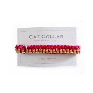 猫の首輪/ヘンプ編み【マゼンタ×ライトブラウン】