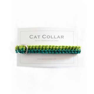 猫の首輪/ヘンプ編み【グリーン×ライム】