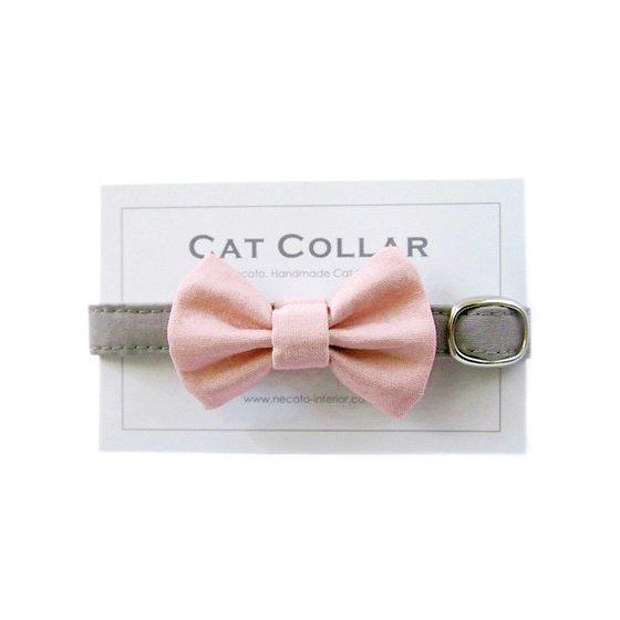 猫の首輪/やわらかコットン【リボン付き/ローズピンク×グレー】