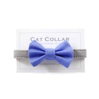 猫の首輪/やわらかコットン【リボン付き/ブルー×グレー】