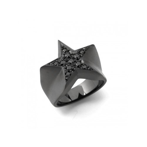 STAR PAVES PINKY RING(MATTE BK DIA)<img class='new_mark_img2' src='//img.shop-pro.jp/img/new/icons47.gif' style='border:none;display:inline;margin:0px;padding:0px;width:auto;' />