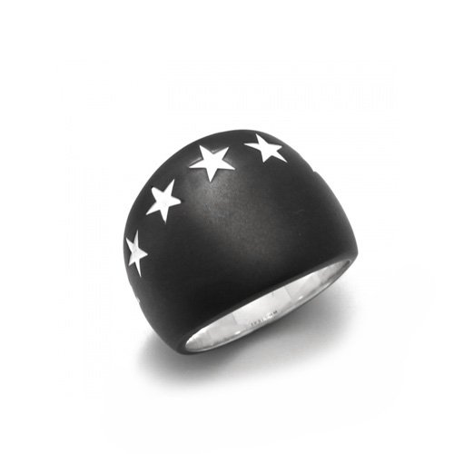 BIG SEVEN STAR RING(MATTE BK SV)