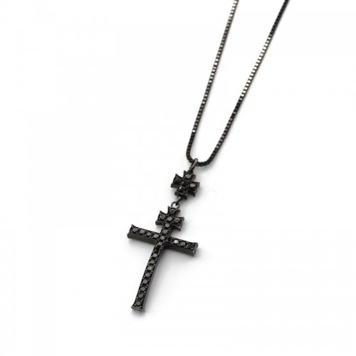 V XXV CROSS PENDANT(BLACK BLACKDIAMOND)