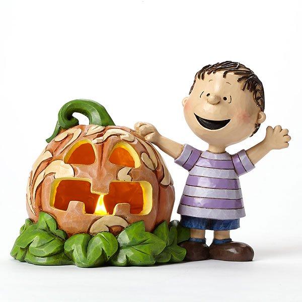 """ピーナッツ byジム・ショア ライナス パンプキンライト フィギュア """"Waiting for the Great Pumpkin-Linus and the Great Pumpkin&q"""