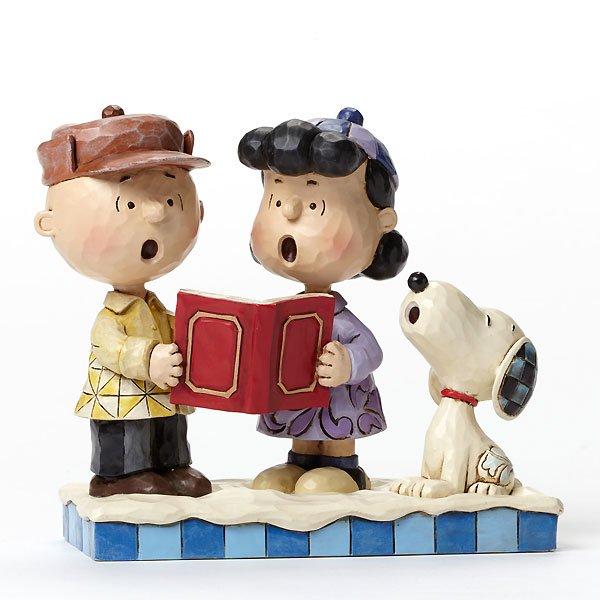 """ピーナッツ by ジム・ショア キャロリング フィギュア """"Peace on Earth-Charlie Brown, Lucy, and Snoopy Caroling Figurine&"""
