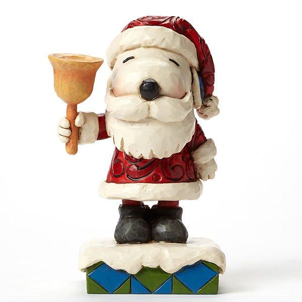 """ピーナッツ by ジム・ショア サンタ・スヌーピーフィギュア """"Ringing in the Holiday Cheer-Santa Snoopy with Bell Figurine&qu"""