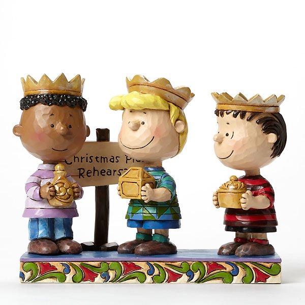 """ピーナッツ by ジム・ショア フィギュア """"Practice Makes Perfect-3 Wise Men Franklin, Schroeder, and Linus Figurin"""