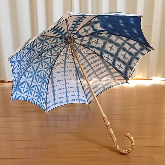 オーダー日傘(藍染てぬぐい)