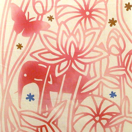 てぬぐい 蓮と象柄(蓮の花色)