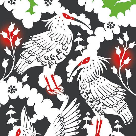 てぬぐい 富士山と八羽の朱鷺柄