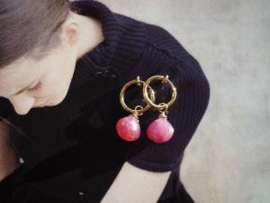 Ruby Hoop Earrings/marron