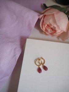 Ruby Hoop Earrings/gold