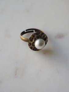 Leopard×Pearl Ring/S
