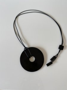 Donut!Buffalo Horn×Lacquer/black necklace