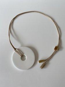 Donut!Buffalo Horn×Lacquer/milk necklace