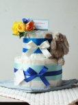 ふわふわウサギのおむつケーキ/2段・ブルー