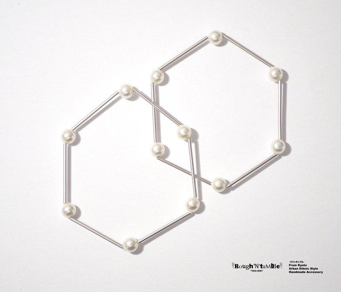 Hexagon bracelet silver×pearl