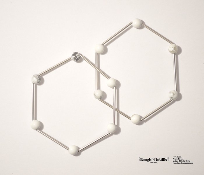 Hexagon bracelet silver×howlite