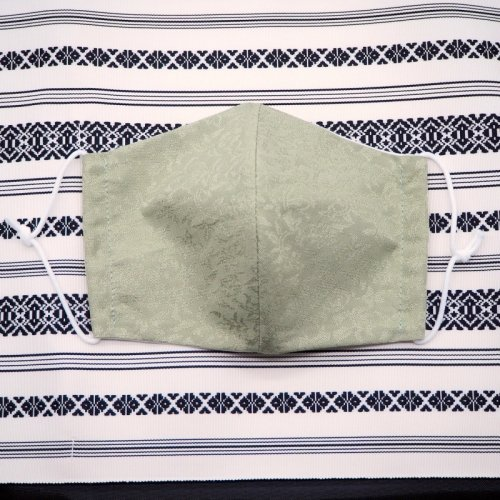 博多織マスク(唐草柄 緑)