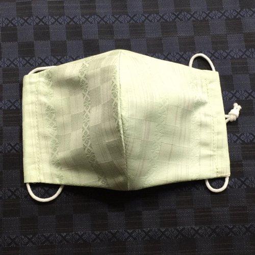 博多織マスク(市松献上柄 ライトグリーン)