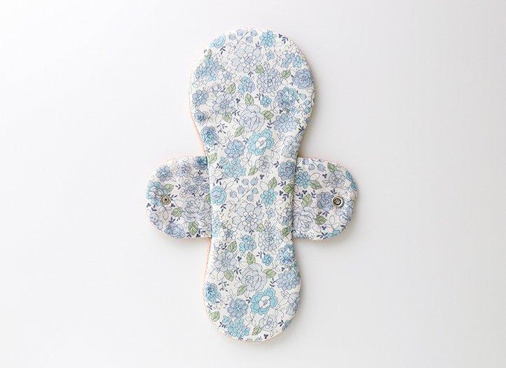 ヒエトリパット「椿オイル生地」防水布入り 大きめサイズ (ブルー)