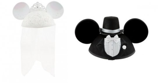 Disney Deluxe Mickey & Minnie Mouse Bride Groom Wedding Adult Ear Hats 2pc Set