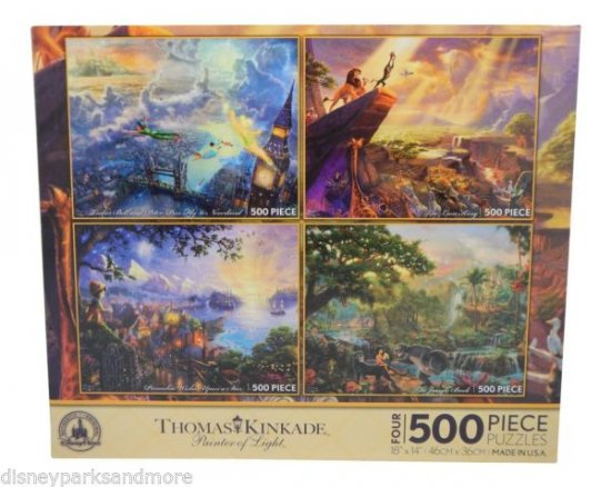 Disney Parks Thomas Kinkade Puzzle Pinocchio Lion King Peter Pan Jungle Book NEW