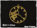 すかしパーツ チャーム 時計と白ウサギ ゴールド 20×22mm