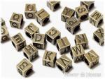 ビーズ アルファベット・キューブ 真鍮古美 7mm×7mm