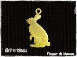すかしパーツ チャーム 小さなウサギ ゴールド 7×13mm