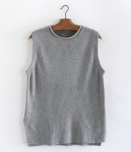 ANACHRONORM Silk Cotton Rib Sweater Vest [GRAY TOP]
