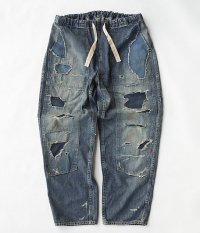ANACHRONORM Damaged Denim W-Knee Easy Pants [INDIGO / HARD DAMAGED]